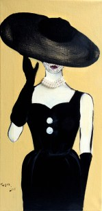 Lady in Broad-Brimmed Hat & Pearls