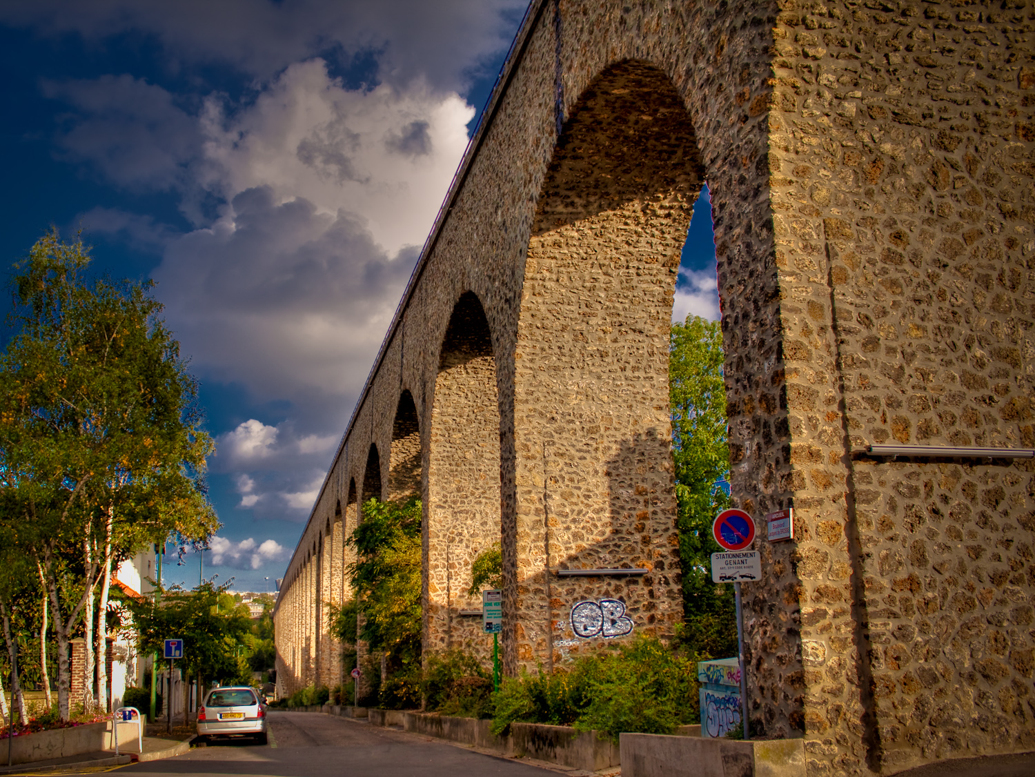 An evening photo in HDR of the Arceuil Aqueduct in south Paris