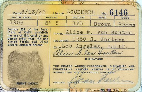 Hollywood Canteen ID card