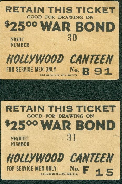 Hollywood Canteen War Bond Raffle Tickets