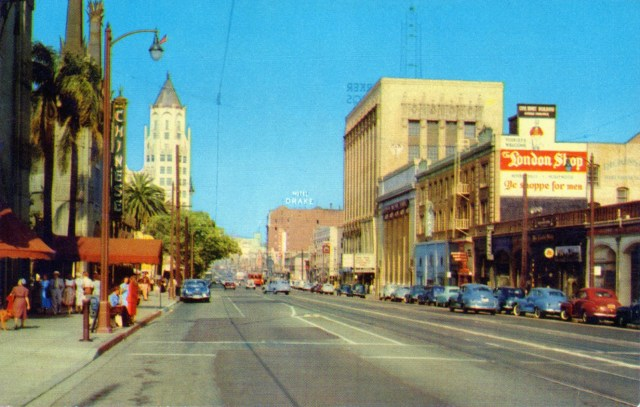Color shot of Hollywood Blvd, circa late 1940s