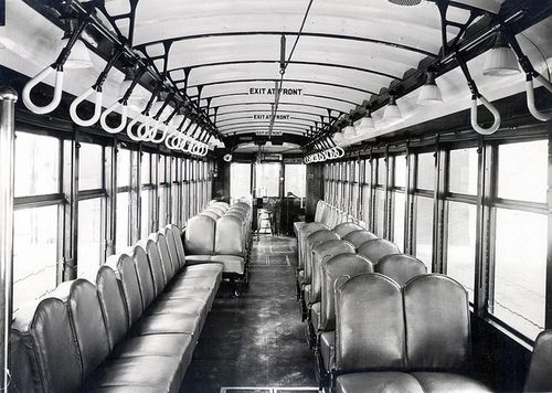Interior of a Los Angeles Railway streetcar (L Class), circa 1927