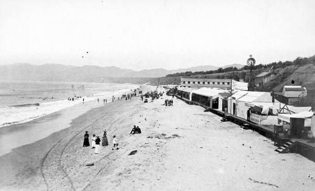 North Santa Monica Beach, shortly after the Southern Pacific railroad reached the town, 1880s