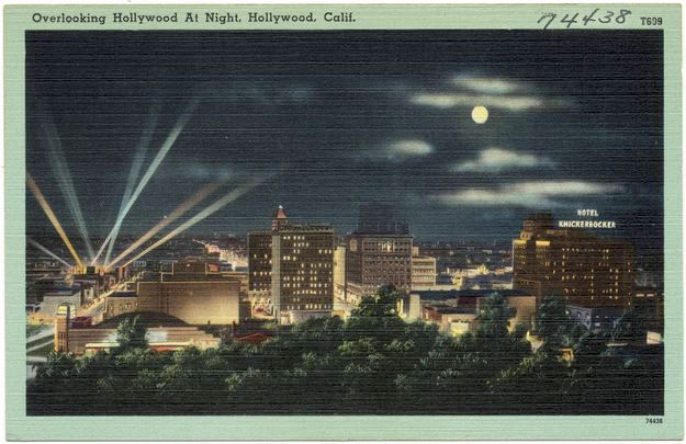 """Overlooking Hollywood at Night, Hollywood, Calif"" vintage postcard"