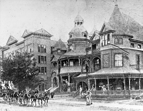 A Stagecoach Arrives At The Melrose Hotel And Hotel Richelieu On Grand Avenue Near Second Street