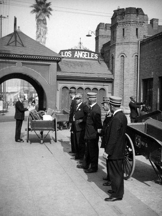 Baggage handlers at the Santa Fe Railroad's La Grande Station, downtown Los Angeles, circa 1937