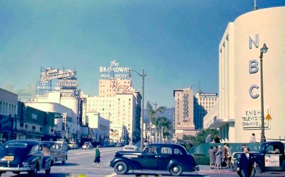Corner of Sunset and Vine, Hollywood with KNBH television studio, circa late 1940s