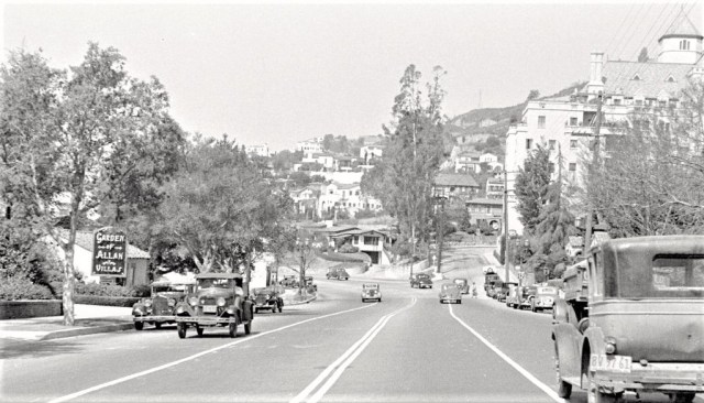 Sunset Blvd looking west with Garden of Allah villas on the left and Chateau Marmont on the right, circa mid 1930s