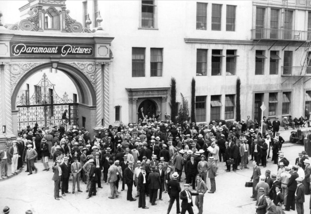 "Extras flood the Bronson Gate at Paramount Pictures to attend a casting call for the ""The Spoilers"" (1930)"