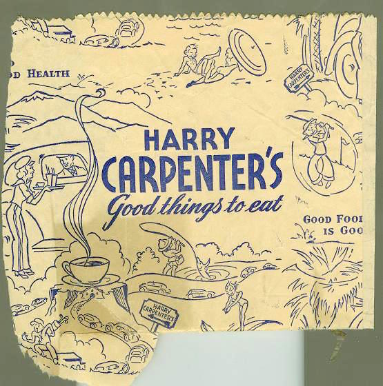 Harry Carpenter's restaurant take-out bag