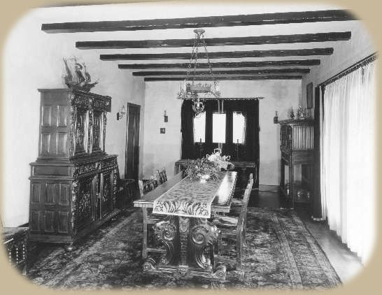 Rudolph Valentino's Dining Room at Falcon Lair, circa 1926
