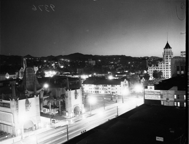 View of Hollywood Blvd during atom bomb blast, 1951