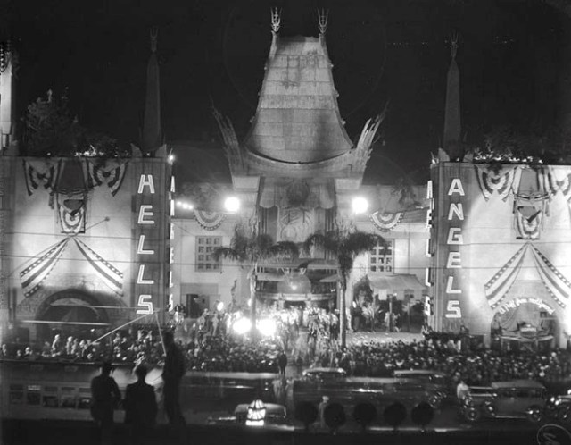 """Grauman's Chinese Theatre the night of the premiere of Howard Hughes' """"Hell's Angels,"""" Hollywood Boulevard, May 27, 1930"""