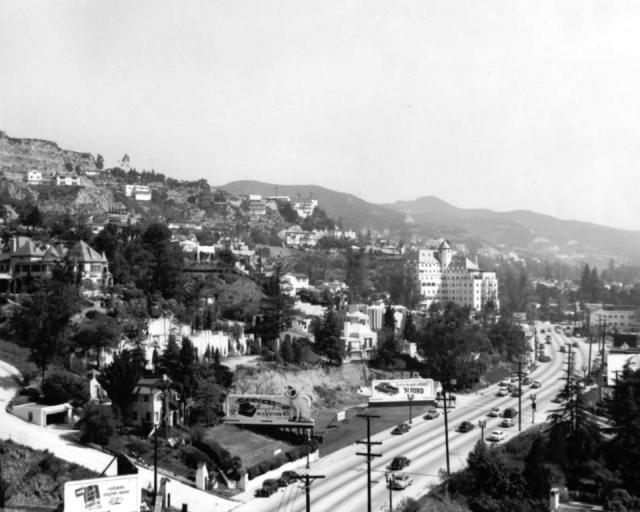 The Sunset Strip looking east toward the Chateau Marmont, Los Angeles, 1950