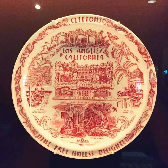 Plate from Clifton's Pacific Seas Cafeteria, 618 South Olive Street, downtown Los Angeles