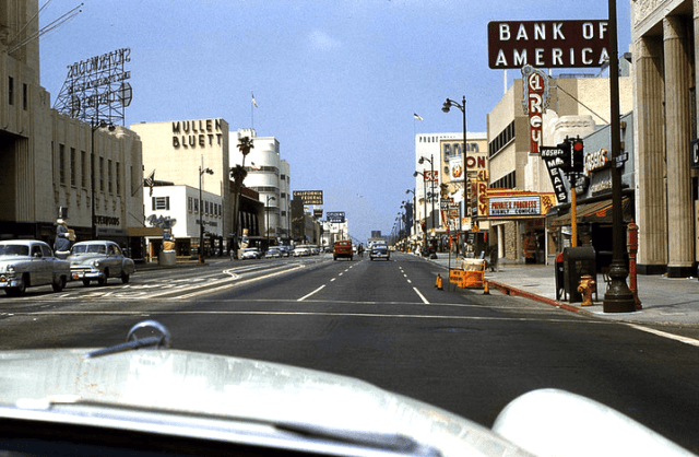 Wilshire Boulevard circa 1956 as seen from the dashboard of a car driving went crossing Dunsmuir Avenue, Los Angeles