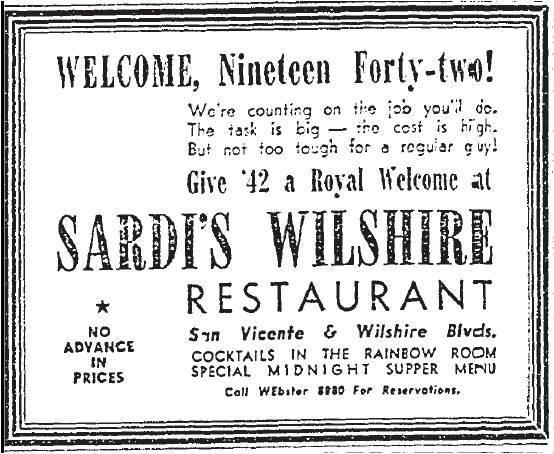 1941 advertisement for Sardi's Wilshire Restaurant, 6594 San Vicente Blvd, Los Angeles