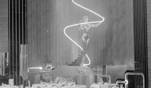 Earl Carroll Theater statue with neon