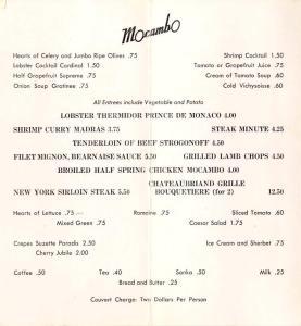 Mocambo menu