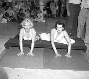 Marilyn Monroe & Jane Russell are immortalized outside Grauman's Chinese Theater