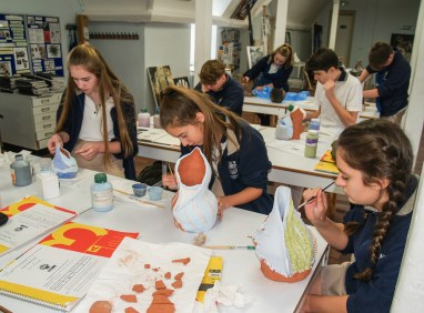 Students decorating their pots 2017