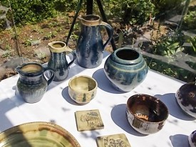 Open Studios display of wood ash glazed stoneware Martin Tyler 2018