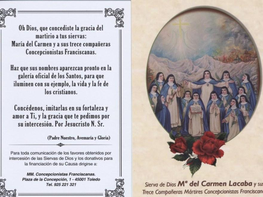 Oración por la glorificación de la madre Lacaba y sus 13 compañeras concepcionistas franciscanas.