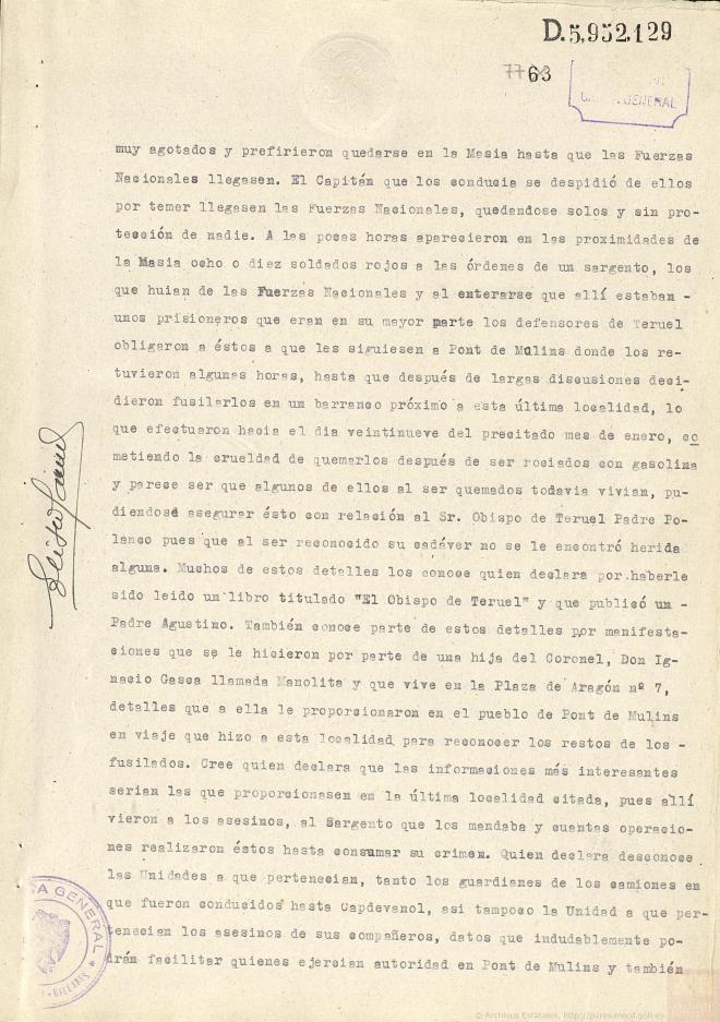 Testimonio de Francisco Barba Badosa sobre el martirio de Anselmo Polanco.