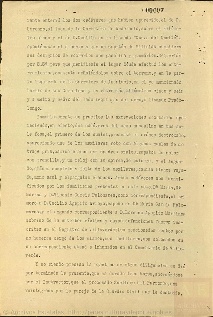 Acta sobre las dos personas desenterradas junto al arroyo Pradolongo (continuación)