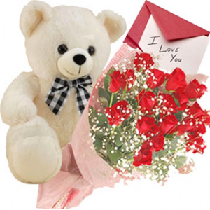 Send Bunch Of 12 Red Roses With Cute Teddy Bear To India