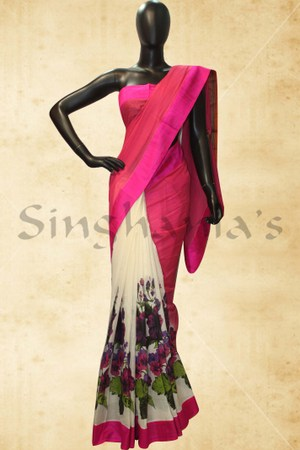 Designer Printed Sarees, Sarees, Singhanias, Pink white kanchi cotton saree with flower prints & rawsilk border-BB421476 ,