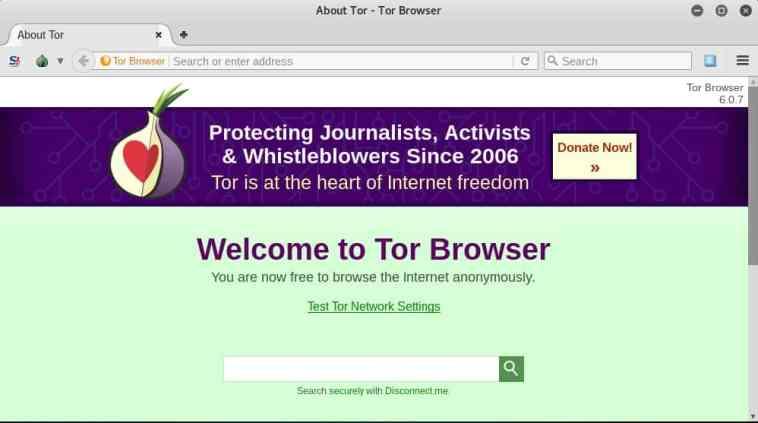 Pantalla de inicio del navegador Tor