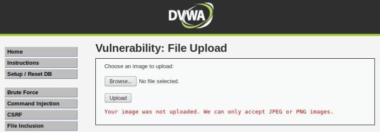 Error que presenta DVWA cuando subimos un fichero que no es una imagen.