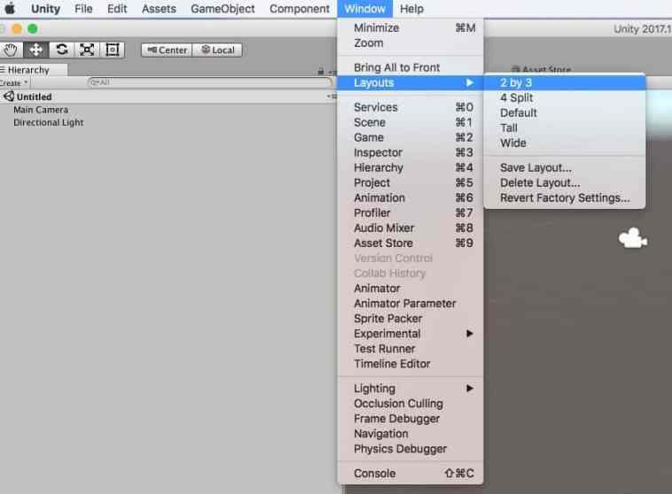 Cambiando el layout en unity desde el menu window
