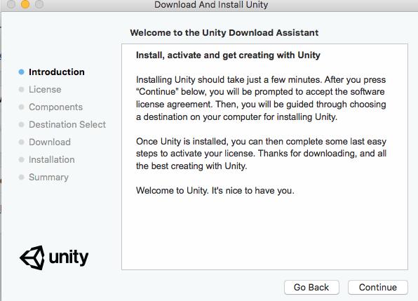 Primer paso de la instalación de Unity