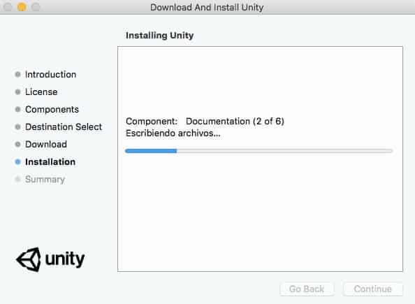 Proceso de instalación de Unity3d