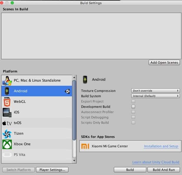 La pantalla de settings de compilación