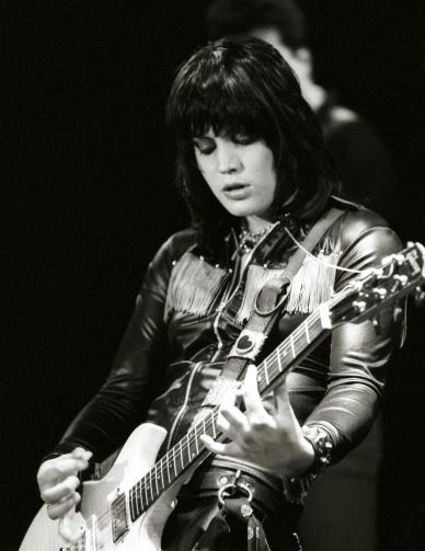 "Guitarist Joan Jett of the rock band ""The Runaways"""