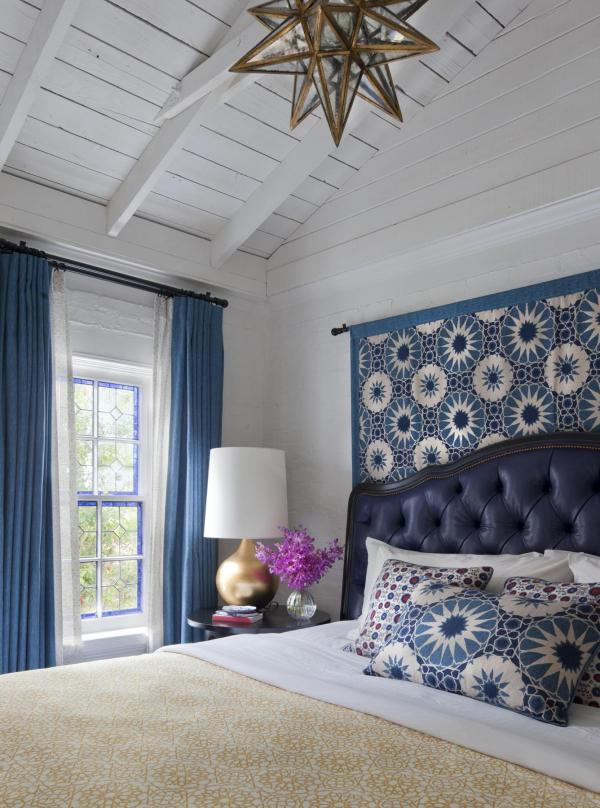 Shambala & Kashmir fabrics in Casa Laguna bedroom. Fabric by Martyn Lawrence Bullard