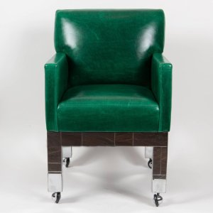 Pair Of Chrome Cityscape Armchairs By Paul Evans