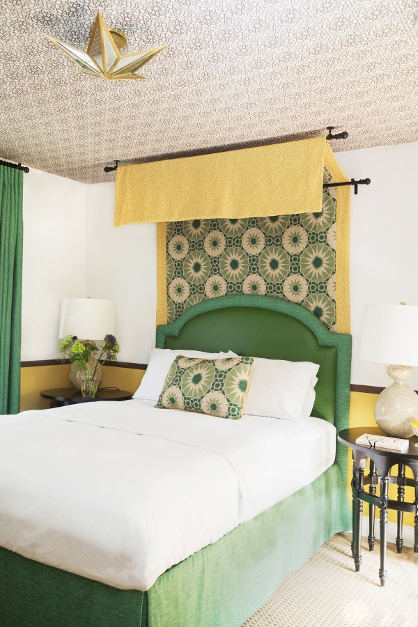 Shambala fabric in Casa Laguna bedroom. Fabric by Martyn Lawrence Bullard