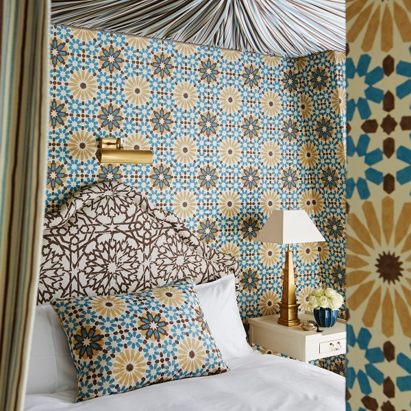 Marrakesh Sahara blue yellow indoor fabric by Martyn Lawrence Bullard