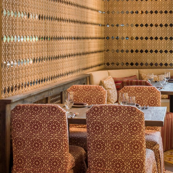 Mamounia Petite Crimson red indoor fabric at the Red O Flagship restaurant in Newport Beach, designed by Martyn Lawrence Bullard