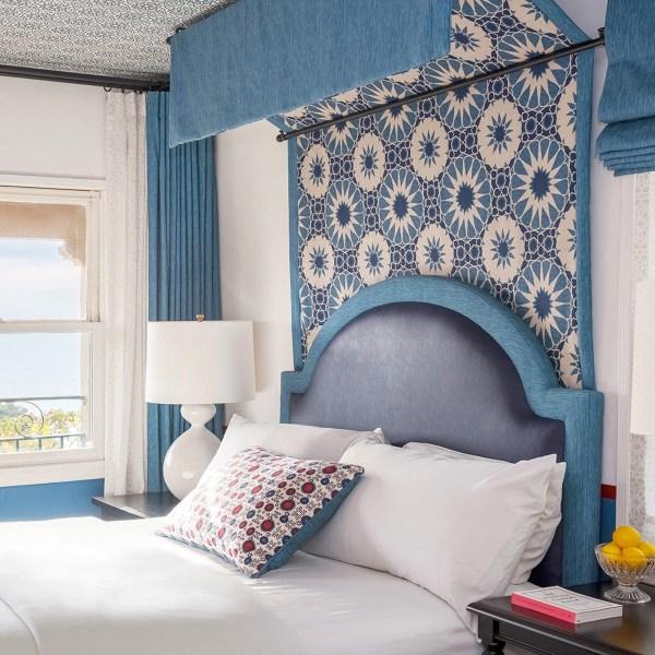 Shambala Indian Ocean indoor fabric at Casa Laguna, designed by Martyn Lawrence Bullard