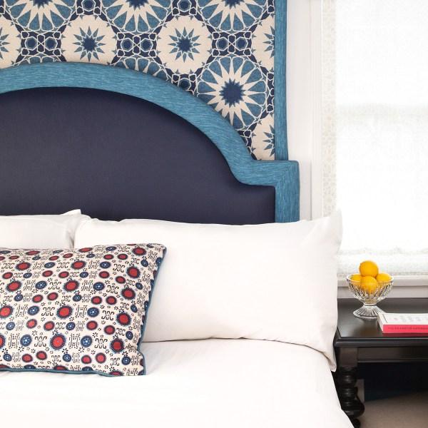 Delos Dahlia red blue indoor fabric at the Casa Laguna Hotel & Spa, designed by Martyn Lawrence Bullard