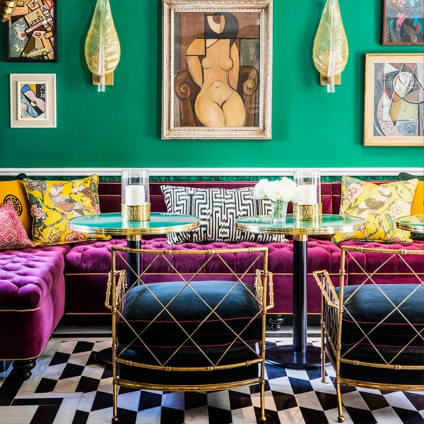 Tropicana Saffron yellow indoor fabric at the Prospect Hollywood, designed by Martyn Lawrence Bullard