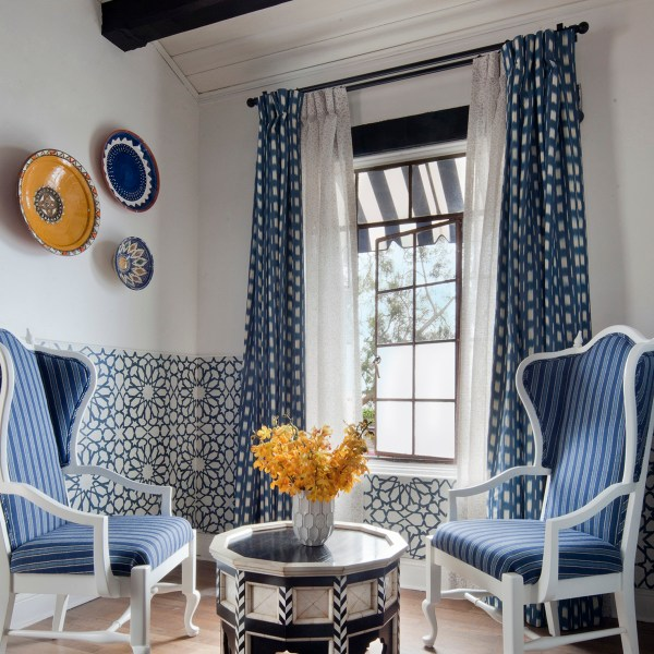 Shibori Indigo indoor fabric on drapes at Casa Laguna, by Martyn Lawrence Bullard