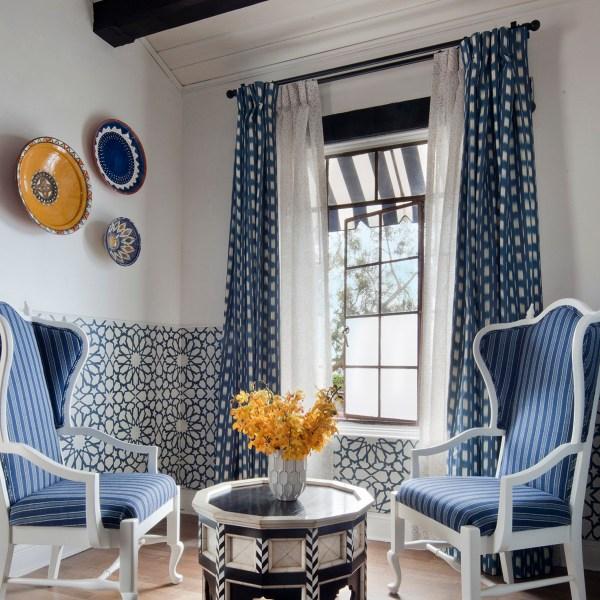 Shibori Indigo indoor fabric on drapes at Casa Laguna, by Martyn Lawrence Bullard