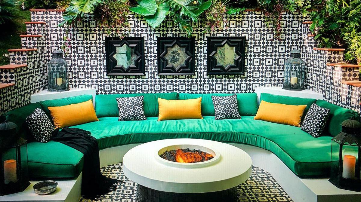 Patio and firepit of West Hollywood residence, designed by renowned interior designer Martyn Lawrence Bullard