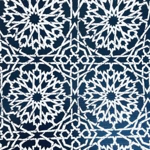 Mamounia Petite wallcovering in Indigo blue, by Martyn Lawrence Bullard